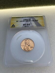1960 LARGE OVER SMALL DATE LINCOLN MEMORIAL CENT 1C ANACS PROOF 65 RED FS 103