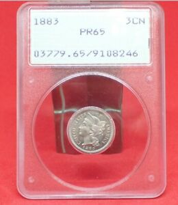 1883 PROOF PCGS OLD OGH PF65 THREE CENT NICKEL   UPGRADE POSSIBLE