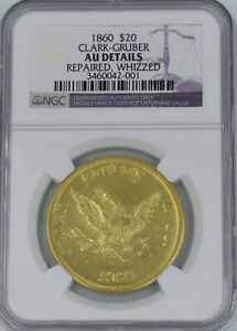 Click now to see the BUY IT NOW Price! 1860 CLARK GRUBER PIKES PEAK $20 GOLD AU DETAILS NGC WOW