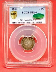 1881 LIBERTY SEATED DIME PCGS PR66 AND CAC APPROVED. PERFECT TYPE COIN
