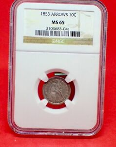 Click now to see the BUY IT NOW Price! 1853 DIME WITH ARROWS NCG MS65  GREAT TYPE COIN