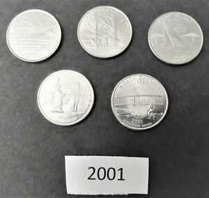 2001 STATE QUARTERS SET OF 5 DENVER MINT UNCIRCULATED COINS