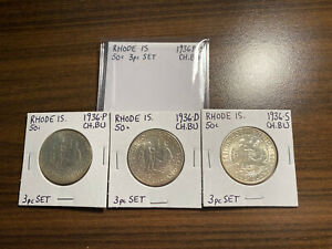 1936 P D S RHODE ISLAND SILVER COMMEMORATIVE SET CHOICE BRILLIANT UNCIRCULATED