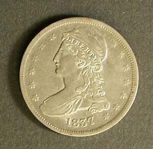 1837 CAPPED BUST HALF DOLLAR 50 CENTS GREAT DETAILS REEDED EDGE
