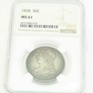 1838 50C MS 61 REEDED EDGE NGC GRADED CAPPED BUST HALF DOLLAR