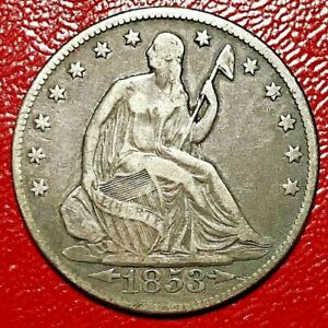 1853 SEATED LIBERTY HALF DOLLAR WITH ARROWS AND RAYS