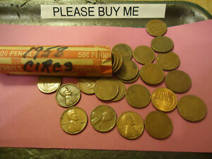 1958 LINCOLN WHEATS PENNY ROLL         > > SHIPPING & TRACKING < <
