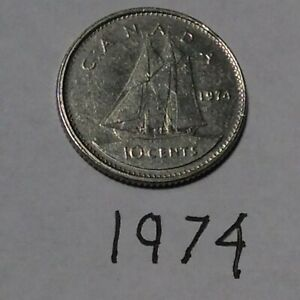 CANADA 1974 10 CENTS CIRCULATED