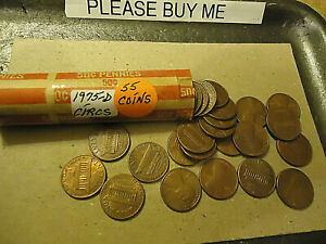 1975 D ROLL OF LINCOLN PENNIES       CIRCULATED ROLL       C/S AVAILABLE