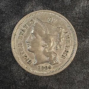 1869 THREE CENT NICKEL   HIGH QUALITY SCANS D528