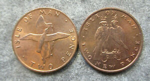 ISLE OF MAN 1975 FALCONS 1976 SHEARWATER 2P  COIN 2 DIFFERENT AUNC/UNC NICE BIRD