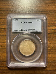 1877 P SEATED LIBERTY SILVER QUARTER 25C PCGS MS 64 TYPE 5 WITH MOTTO