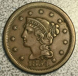 1854 BRAIDED HAIR LARGE CENT 1 FROM DATE PUNCHED IN EAR POPULAR N 9 XF