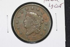 1827 CORONET HEAD LARGE CENT  FINE