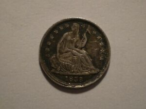 SBS5 USA 1838 SILVER SEATED LIBERTY HALF DIME  5 CENTS