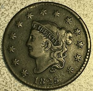 1825 CORONET LARGE CENT CHOICE FINE DETAILS N 7 R 3