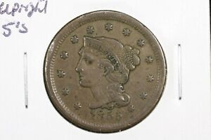 1855 UPRIGHT 5S BRAIDED HAIR LARGE CENT