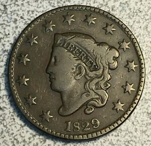 1829 MEDIUM LETTERS CORONET LARGE CENT FINE N 5 R 3