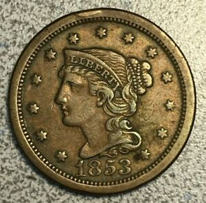 1853 BRAIDED HAIR LARGE CENT CHOICE XF N 16