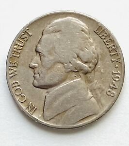 1948 D JEFFERSON NICKEL RPM WITH CUD AND TONING ON REVERSE