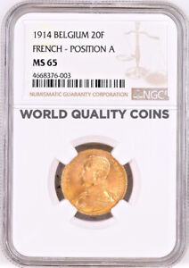 Click now to see the BUY IT NOW Price! 1914 BELGIUM 20 FRANCS GOLD NGC MS65 KING ALBERT I FRENCH TEXT POSITION A