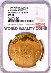 Click now to see the BUY IT NOW Price!  CANADA 1970 GOLD MEDAL 2 CALGARY STAMPEDE ALBERTA LOMBARDO NGC MS66
