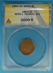 1864 L ON RIBBON INDIAN HEAD CENT ANACS G6  S1 RPD LIGHT BROWN PATINA