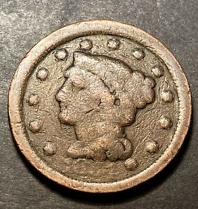 1854 BRAIDED HAIR LARGE CENT 1C OBSOLETE COLLECTIBLE US FILLER TYPE COIN