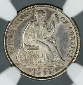 NGC UNC DETAILS 1890 S SEATED LIBERTY DIME 10C     BC08