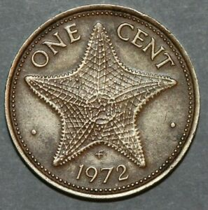 BAHAMAS 1972 1 CENT  STAR FISH  19MM FOREIGN COIN