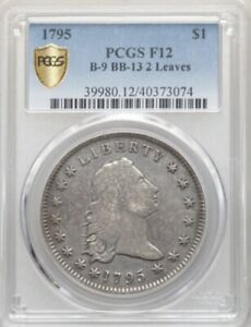 1795 $1 FLOWING HAIR TWO LEAVES B 9 BB 13 R.4 PCGS F 12