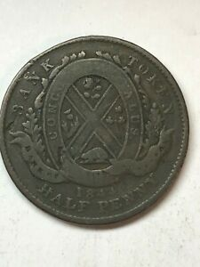 1844 BANK OF MONTREAL CANADA HALF PENNY TOKEN COIN SEE THE PICS