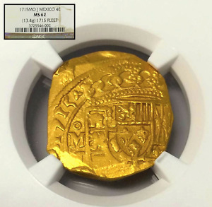 Click now to see the BUY IT NOW Price! MEXICO 1715 FLEET SHIPWRECK 4 ESCUDOS NGC 62 GOLD DOUBLOON COB COIN ONLY 4 KNOWN