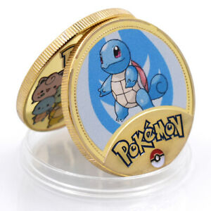 SQUIRTLE POKEMON COIN GOLDEN METAL COMMEMORATIVE COIN ART ORNAMENT GAME COIN