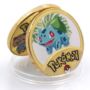 BULBASAU POKEMON BUSINESS GIFT COMMEMORATIVE 24K GOLD FOIL METAL CHALLENGE COIN