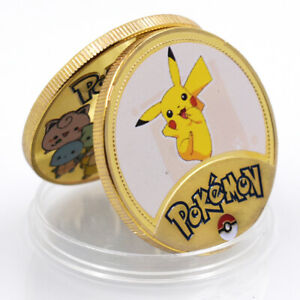 CLASSIC PIKACHU AMINE POKEMON COMMEMORATIVE 24K GOLD FOIL METAL COIN ART CRAFT