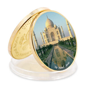 SEVEN WONDERS OF WORLD TAJ MAHALCOMMEMORATIVE INDIA GOLD FOIL METAL COIN