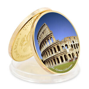 SEVEN WONDERS OF WORLD THE ROMAN COLOSSEUM COMMEMORATIVE  GOLD FOIL METAL COIN