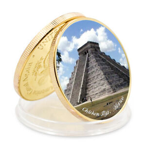 SEVEN WONDERS OF WORLD CHICHEN ITZAMEXICO COMMEMORATIVE GOLD FOIL METAL COIN