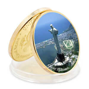 SEVEN WONDERS OF WORLD CHRIST REDEEMERBRAZIL  COMMEMORATIVE GOLD PLATED COIN
