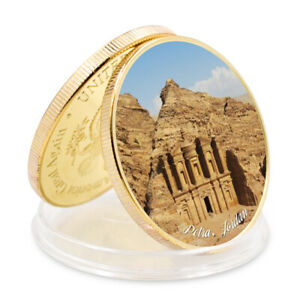SEVEN WONDERS OF WORLD PETRAJORDAN COMMEMORATIVE GOLD PLATED METAL COIN