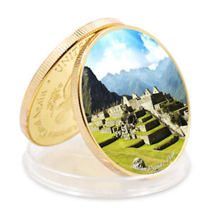 MACHU PICCHUPERU  SEVEN WONDERS OF WORLD COMMEMORATIVE GOLD PLATED GAME COIN