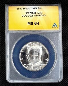 Click now to see the BUY IT NOW Price! 1973 D KENNEDY HALF DOLLAR DOUBLED DIE DDO 002 DMR 003 ANACS MS 64 0794