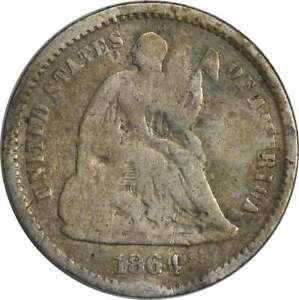 1864 LIBERTY SEATED SILVER HALF DIME VG  DAMAGE  UNCERTIFIED