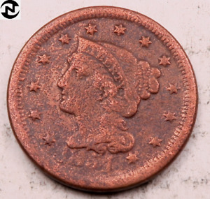 1854 BRAIDED HAIR LARGE CENT // VF  DETAILS  //  LC457