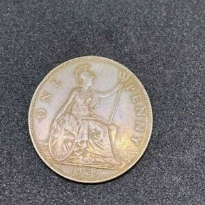1929 BRITAIN ENGLAND BRITISH ENGLISH LARGE CENT PENNY OLD CURRENCY KING GEORGE V