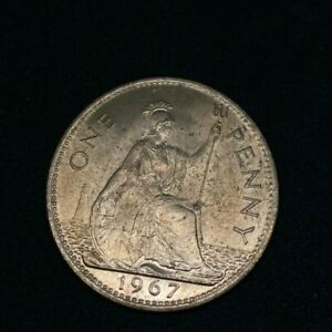 1967 BRITAIN ENGLAND BRITISH ENGLISH LARGE CENT PENNY OLD MONEY QUEEN ELIZABETH