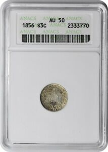 1856 THREE CENT SILVER AU50 ANACS