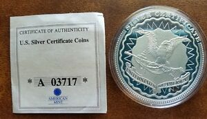 $5 SILVER CERTIFICATE COIN PRESENTING LIGHT TO THE WORLD CU PLATED PROOF 2