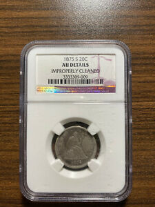 1875 S TWENTY CENT PIECE 20C NGC GENUINE CLEANED ALMOST UNCIRCULATED DETAILS